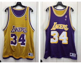 61c915e02 1990s reversible Shaquille O Neal number 34 LA Lakers NBA Basketball team  made in USA Champion brand Jersey Tank size 48 xl purple yellow