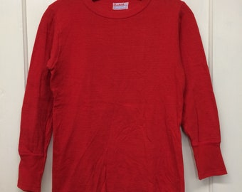 1950s Duofold soft cotton wool thermal undershirt size youth 14, 15x22 long sleeve t-shirt res long cuffs #11
