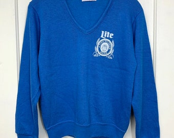 1970s Lite Beer V-neck sweater size small light blue soft rayon acrylic made in USA party