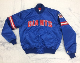 1980s New York Giants Team NFL Football sports Pro Line by Starter quilted Satin bomber Jacket size large striped sleeves