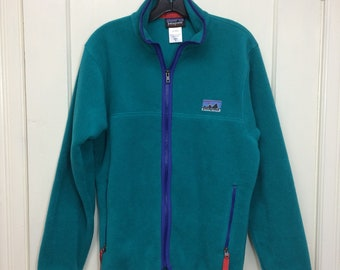 Patagonia Synchilla fleece zip-up jacket size small turquoise aqua blue green camping hiking ski barely used excellent condition