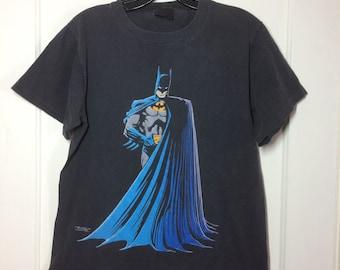 1980s 1988 Batman all cotton faded black T-shirt size Medium 19x24.5 DC Comics Super Hero Changes made in USA