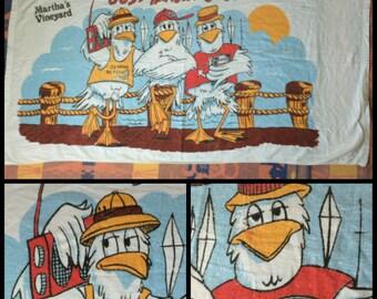 1970's Cartoon Beer Drinking Boom Box 3 Partying Seagulls on the dock Beach Towel Martha's Vineyard Souvenir Funny Fishermen by Sherry USA