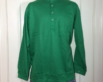 Deadstock 1960's all cotton Nehru Collar Shirt size Large NOS Henley neck Long sleeve t-shirt Green #2