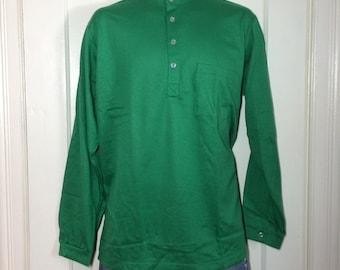 Deadstock 1960's all cotton Nehru Collar Shirt size Large NOS Henley neck Long sleeve t-shirt Green #1