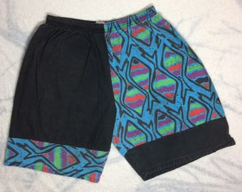 1980s color block surfer board shorts swim trunks abstract fish patterned blue black cotton size XL