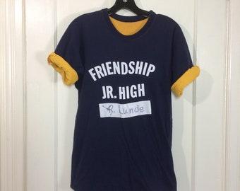 1970s Friendship Jr. High school reversible double t-shirt size Large 19x25.5 dark blue yellow basketball sports cotton