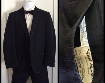 Vintage 1967 1960's Black Tuxedo Dinner Jacket size 38 single button
