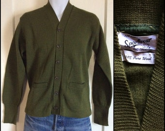 Deadstock 1940's Sportswear for Town and Country Spa Coat thin knit workwear Cardigan Chore Sweater size 42 looks size medium Army Green NOS