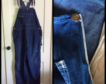 1960s Blue Denim Carter's Overalls measures 45x32 Union Made in USA Selvedge Donut Hole Buttons