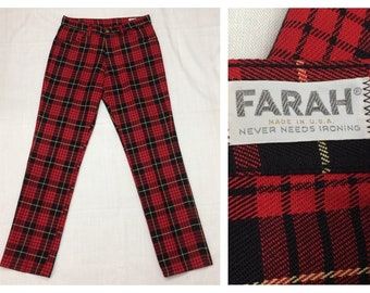 1960s punk plaid Farah jeans 30X31 tapered leg peg leg skater red black tartan permanent press trousers