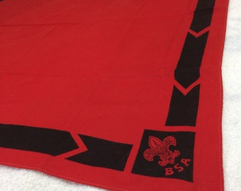 1950s 1960s large red Boy Scout bandana scarf 28x28 BSA fleur de lis logo hemmed cotton neckerchief kerchief #155