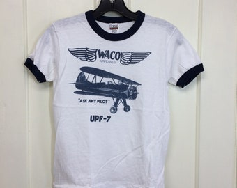 deadstock 1980s Waco UPF-7 small military airplane t-shirt size boys 14-16 15x21 ask any pilot aircraft ringer tee Hanes made in USA NOS