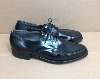 Deadstock 1960s 1970s black mod dress shoes size 7.5 NOS Bostonian preppy punk rockabilly swing