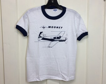 deadstock 1980s Mooney small vintage airplane t-shirt size boys 14-16 16x21 pilot aircraft thin white blue ringer tee Hanes made in USA NOS