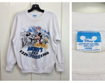 1980s Mickey Mouse 60th birthday 1928~1988 white pullover Sweatshirt size large Disney Character Fashions made in USA