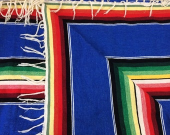Mexican Saltillo serape tight weave handwoven wool blanket throw 84x48 inch Casa Temoltzin colorful striped rainbow blue rug wallhanging
