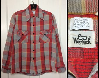 1980's Woolrich thick heavy cotton flannel shirt size small gray red black yellow plaid