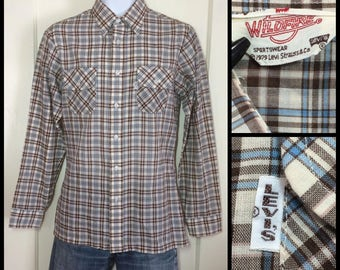 1970's Levi's big E Wildfire 1979 Tan Light Blue Brown Plaid Shirt size Medium White Tab light weight permanent press