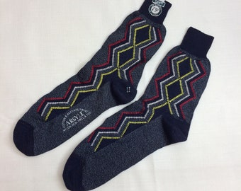1960s deadstock soft cotton acetate knit socks size 11 by Roxy NOS NWT heather blue yellow red zigzag argyle