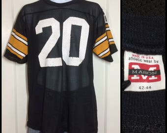 1970's Pittsburgh Steelers Rocky Bleier number 20 black mesh football jersey t-shirt size large 42-44, measures 20x27 NFL distressed