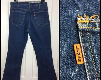 1960s Levis 646 big E indigo blue, orange tab measures 34x31 dark wash Denim bellbottoms Bell Bottom Flare hippie boho boyfriend Jeans #290