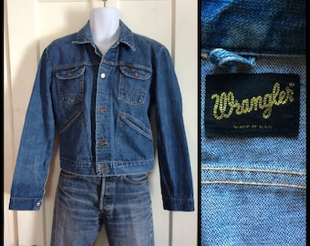 Vintage 1970's Wrangler Blue Jean Denim Jacket looks size Large selvedge 4 pocket made in USA #1869