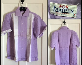 Deadstock Vintage 1950s Lavender Short Sleeve Summer Loop Shirt size Mens Small Campus