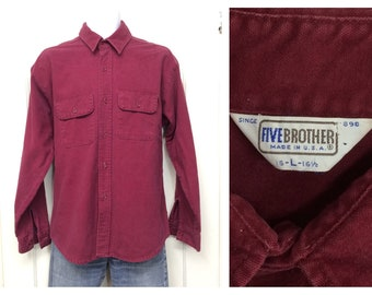 1980s Five Brother heavy cotton chamois cloth shirt size large burgundy red work workwear Union made in USA