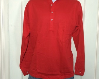 Deadstock 1960's cotton Nehru Collar Shirt size Medium and Large available NOS Henley neck Long sleeve t-shirt Red