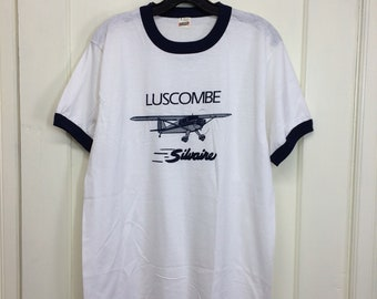 deadstock 1980s Luscombe Silvaire vintage small airplane t-shirt size large 20x28 pilot aircraft white ringer Screen Stars made in USA NOS