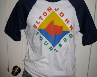Vintage 1980 Elton John Tour 1980s Rock Band T-shirt Baseball Jersey size Small