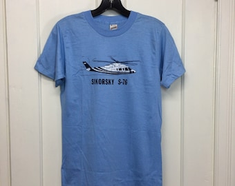 deadstock 1980s vintage Sikorsky S-76 helicopter t-shirt size medium 16x25 pilot aircraft light blue Screen Stars made in USA NOS