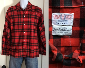 1950s plaid loop collar shirt size medium red black dark green Challa Cloth from Switzerland cotton wool blend rockabilly swing
