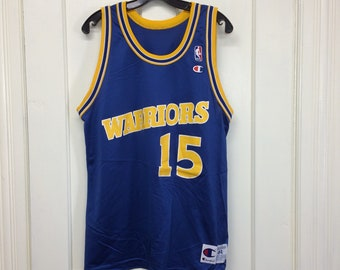 1990s Latrell Sprewell Golden State Warriors number 15 NBA Basketball team Champion brand jersey tank size 44 blue yellow made in USA