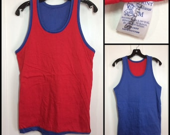1960s deadstock reversible tank top size medium 17x25.5 looks small red blue ringer all cotton by Imp Print sportswear basketball gym beach