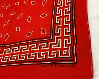 1930s turkey red abstract Native American Indian diamond darker red bandana 16x16.5 Guaranteed Fast Color all cotton Border #190