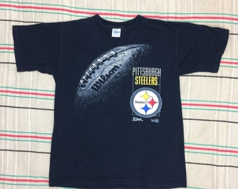 1990s 1992 Pittsburgh Steelers Football Team NFL Sports t-shirt size large 20x25 Wilson football black cotton single stitch made in USA