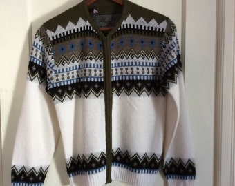 Vintage 1950's Mens Cardigan zipper Sweater size Medium Rockabilly Nordic Ski Snow Navajo