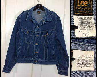 1980's Lee 4 pocket Denim Blue Jean Jacket size 42 large dark wash Union Made in USA #1920