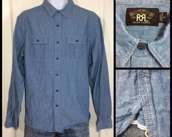 1990s does 1930s RRL Ralph Lauren blue cotton chambray shirt size XL chin strap selvedge gussets