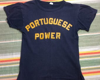 1960s Portuguese Power all cotton blue t-shirt looks size small 17x22 protest civil rights Portugal Brazil