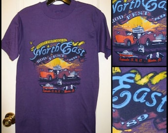 Vintage 1989 Hot Rod Motor Auto Drag Racing Car Derby Moodus, Connecticut Purple T-shirt Size Small