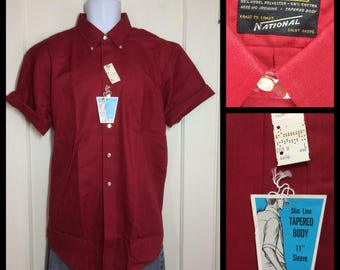 1970's Deadstock plain dark red button down collar short sleeve Shirt size Large NOS NWT by National Slim Line tapered fit