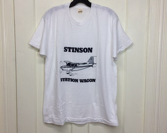 deadstock 1980s Stinson Station Wagon vintage airplane t-shirt size large 20x26.5 pilot aircraft thin white tee Screen Stars made in USA NOS