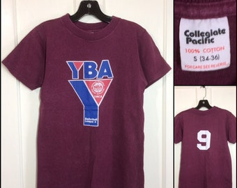 1970s YBA National Basketball Players t-shirt size small 16x24 all cotton plum purple Collegiate Pacific made in USA #9 sports team YMCA