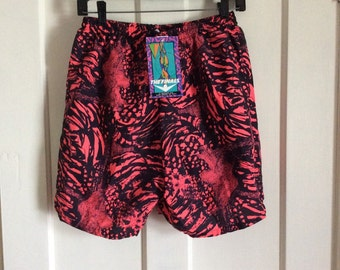 pick one- deadstock 1990s Neon Day-Glow Red and Black Surf Board Shorts Swim Trunks size L and XL NOS NWT