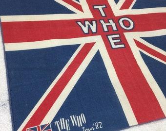 1980s the Who rock band 1982 American Tour souvenir bandana 20.5x20.5 concert merch Union Jack British Flag Roger Daltry Pete Townsend #153