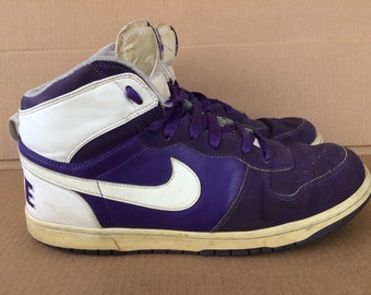 Nike Terminator leather basketball shoes Hi Top sneakers size 11.5 purple white kicks throwback Old Repro