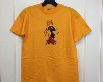 1980s Popeye the sailor man t-shirt looks size small 16.5x23 cartoon character tee yellow single stitch by Peabody Virginia Beach